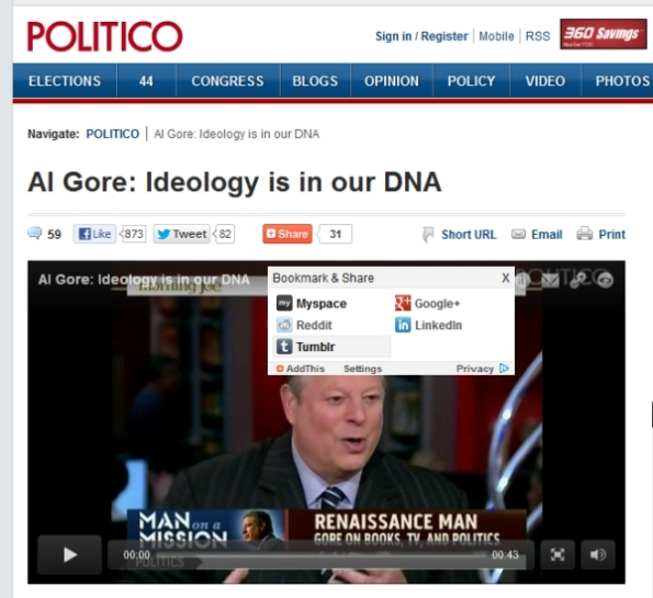 Politico - Gore Ideology in DNA