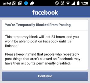 Facebook Block Notification