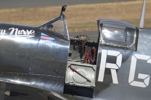 The open cockpit of Spitfire Mk.VIII MV239. This was the very last HF VIII delivered to Australia, and now flies for Temora Aviation Museum in the South West Pacific 'Grey Nurse' colours of WingCdr. RH (Bobby) Gibbes, 80 Wing, RAAF. (airscape photo)